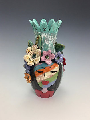 """""""Celebration II"""" - SOLD - Vase with Women's Faces and Flowers"""