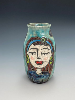 Senorita, Vase with Girl, Front View, Lilia Venier Ceramics
