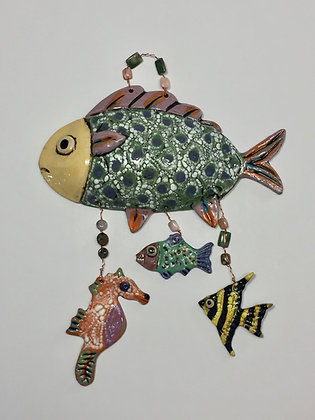 Fish, Seahorse, Wall Art, Front View, Lilia Venier Ceramics