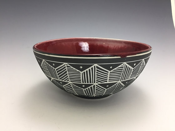 Red Bowl with Geometric Pattern - SOLD