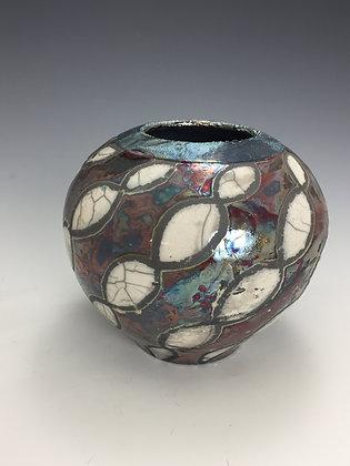 Raku Vase with Geometric Pattern - SOLD