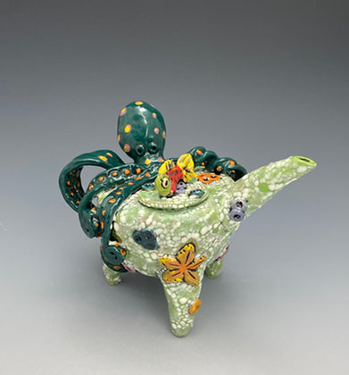 Fuzzy Partners, Teapot with Octopus and Fish, Front View, Lilia Venier Ceramics