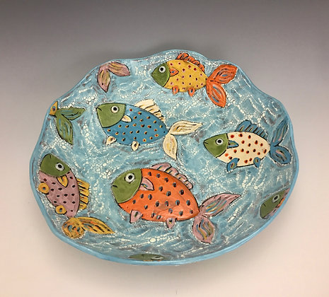 """Tropical Life"" - SOLD - Artful Home - Platter with Fish"