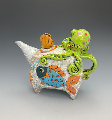 Three Friends, Teapot with Octopus and Fish, Front View, Lilia Venier Ceramics