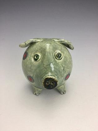 Green Pig Raku Sculpture - SOLD OUT