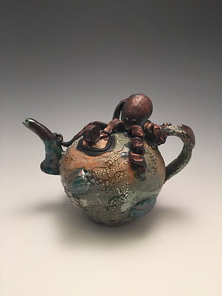 Octopus Teapot Raku - SOLD