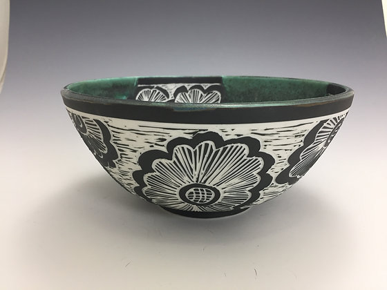 Green Bowl with Flowers - SOLD