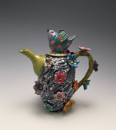 Enjoying Spring - SOLD - Teapot with Bird and Flowers