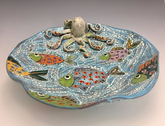 """""""Fish Party"""" - SOLD - Artful Home -  Platter with Fish and Octopus"""