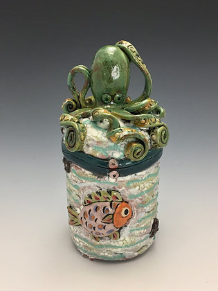 """Merry Go Round"" - SOLD, Artful Home - Jar with a Octopus and Fish"