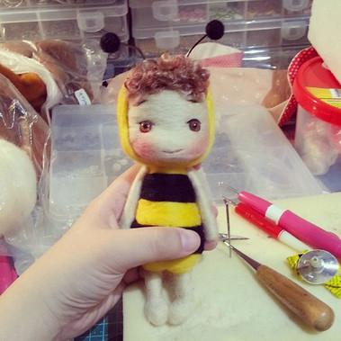Baby bee #handmade  #wool  #doll  #littl