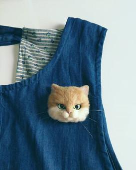 Needle felt cat brooch_#needlefeltbrooch