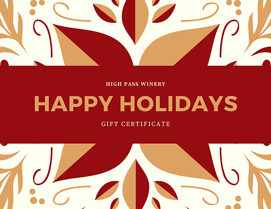 Happy Holidays Gift Certificate