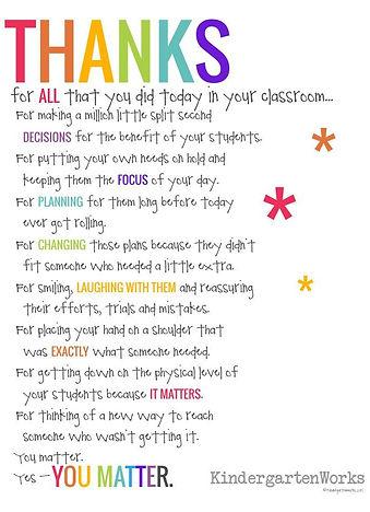Teacher Thanks Poem