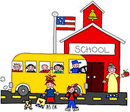 School with Bus and Kids