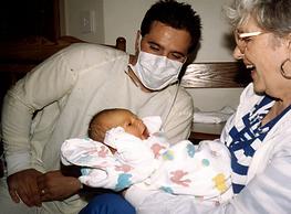 Rick, Grandma Olson, and newborn Tucker.