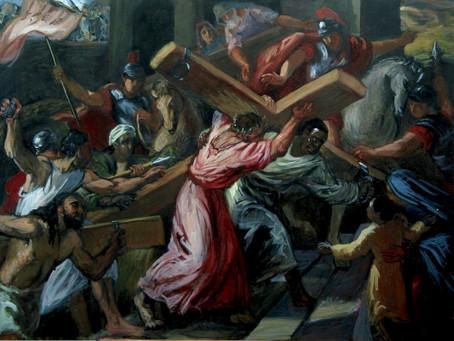 Simon the Cyrene Carries Jesus' Cross Mark15:21, Luke 23:26, Matthew 27:32