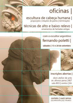 2014 . OFICINA . dom atelier . modelagem de cabeça humana, alto e baixo relevo