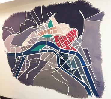 "Fresque murale ""54"" plan de ville (Liège)"