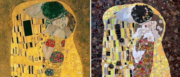 Detail from Gustav Klimt's The Kiss