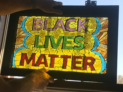 Black Lives Matter window hanging