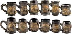 Beer mugs with relief emblems