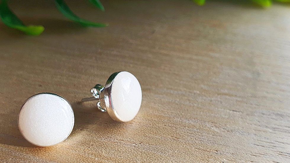 8mm breastmilk sterling silver earrings