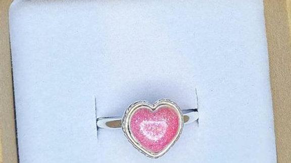 Heart shaped memorial ring