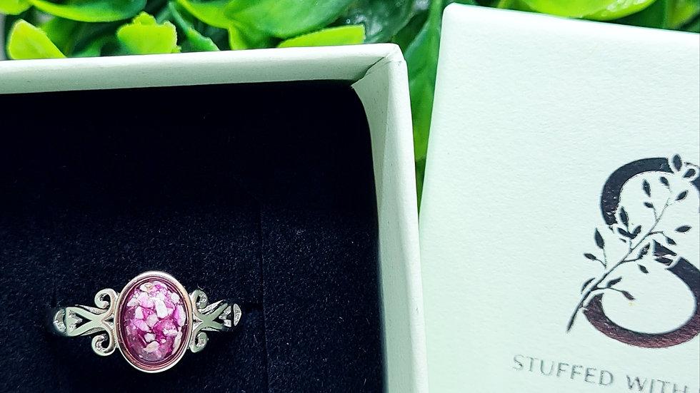 Adjustable sterling silver oval memorial ring