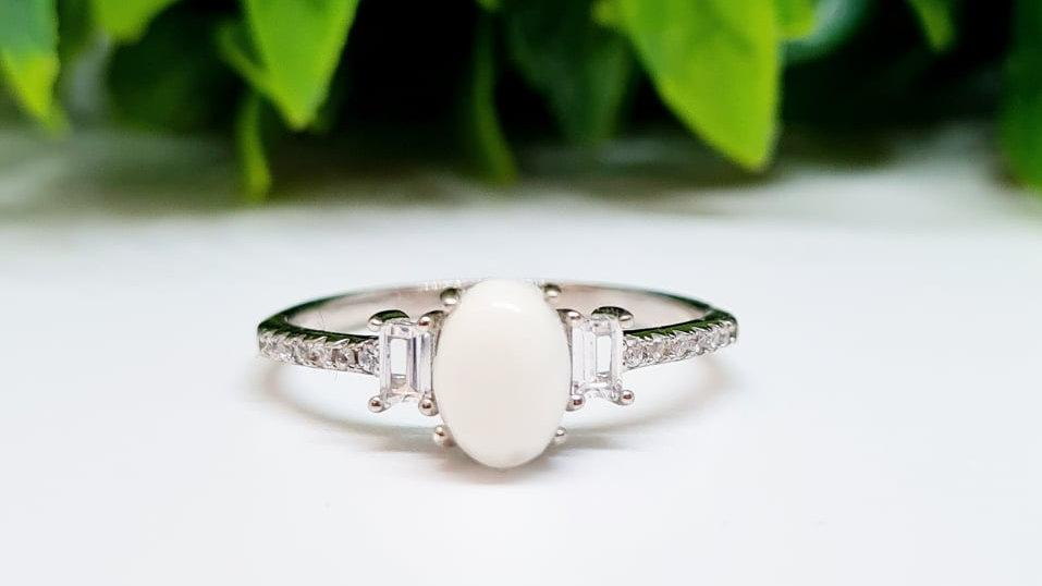 Rectangle diamante breastmilk ring