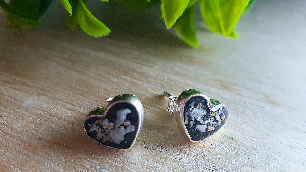 .925 heart stud earrings