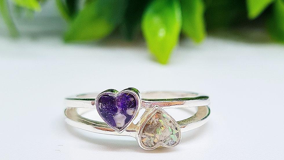 Double heart pendant memorial ring