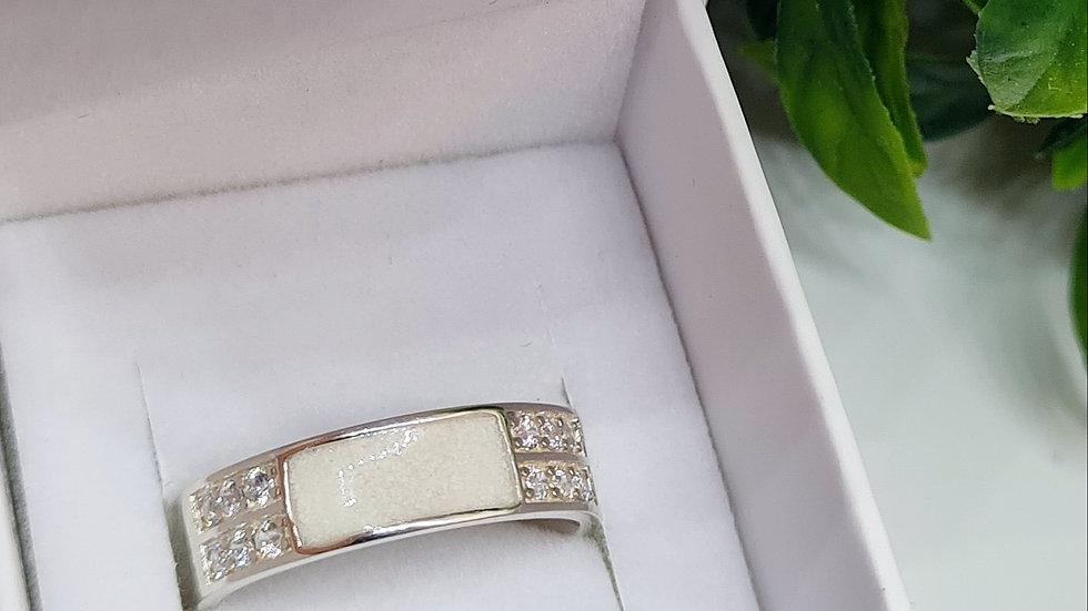 Sterling silver diamante half inlay ring