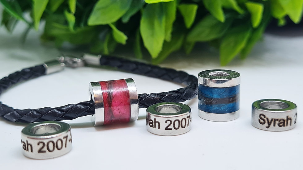 Black leather bracelet with charm
