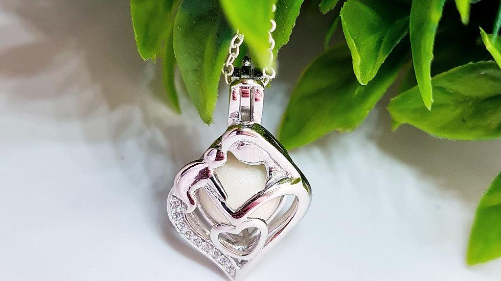 Breastmilk pearl cage pendant