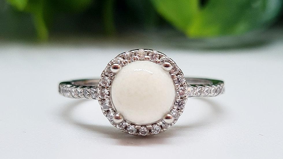 Circle halo diamante breastmilk ring