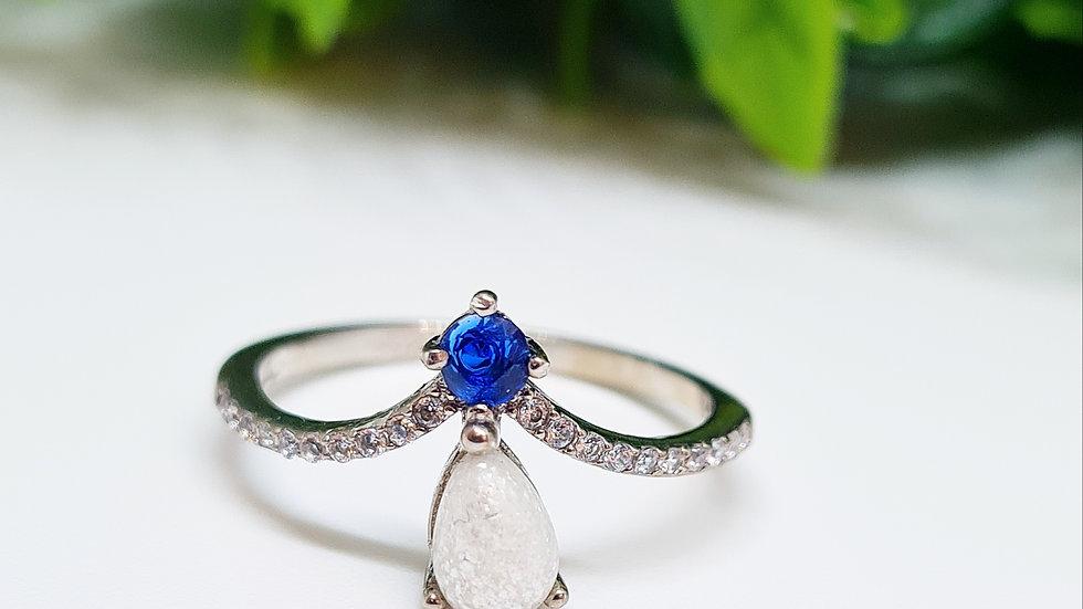 Breastmilk droplet birthstone memorial ring