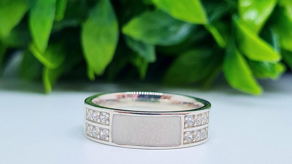 Breastmilk sterling silver diamante half inlay