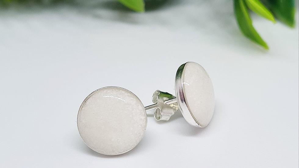 8mm breastmilk sterling silver earrings