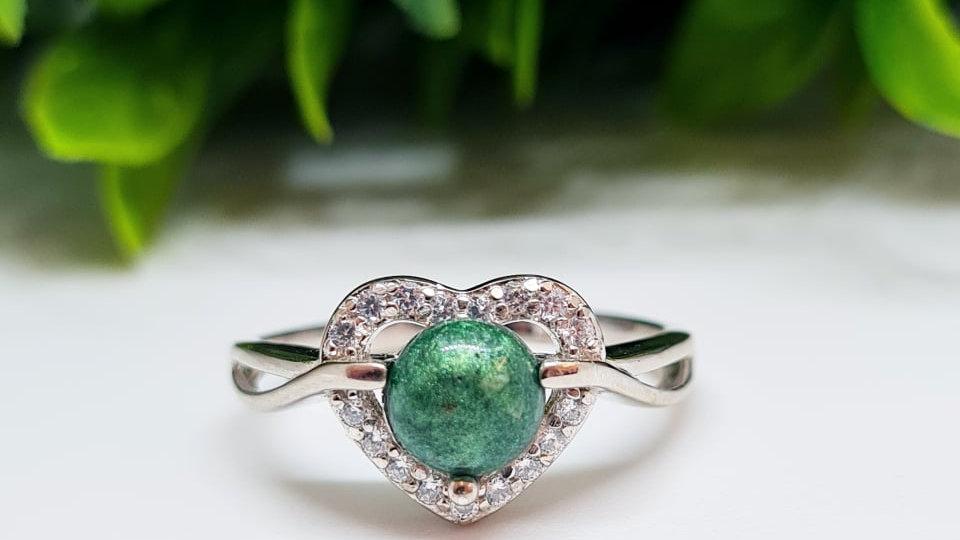 Diamante heart memorial ring