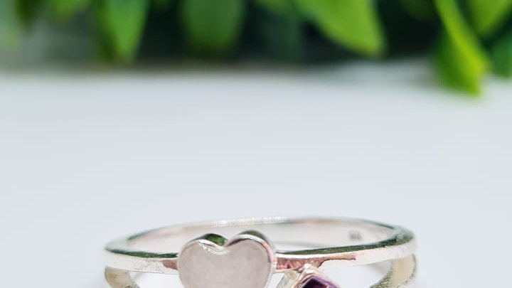 Breastmilk heart birthstone ring
