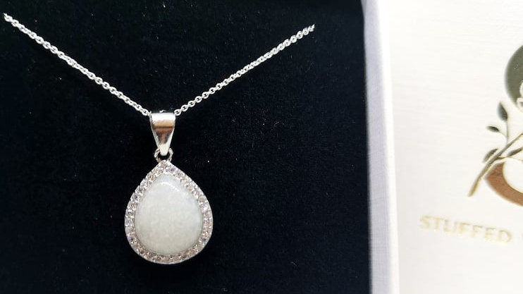 Dainty diamante teadrop breastmilk necklace