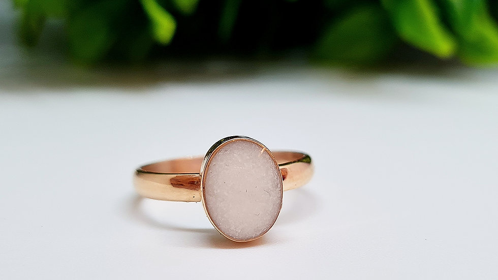 Rose gold plated breastmilk oval ring