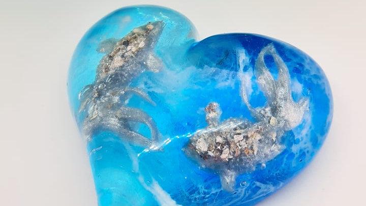 Ashes koi fish heart ornamental keepsake