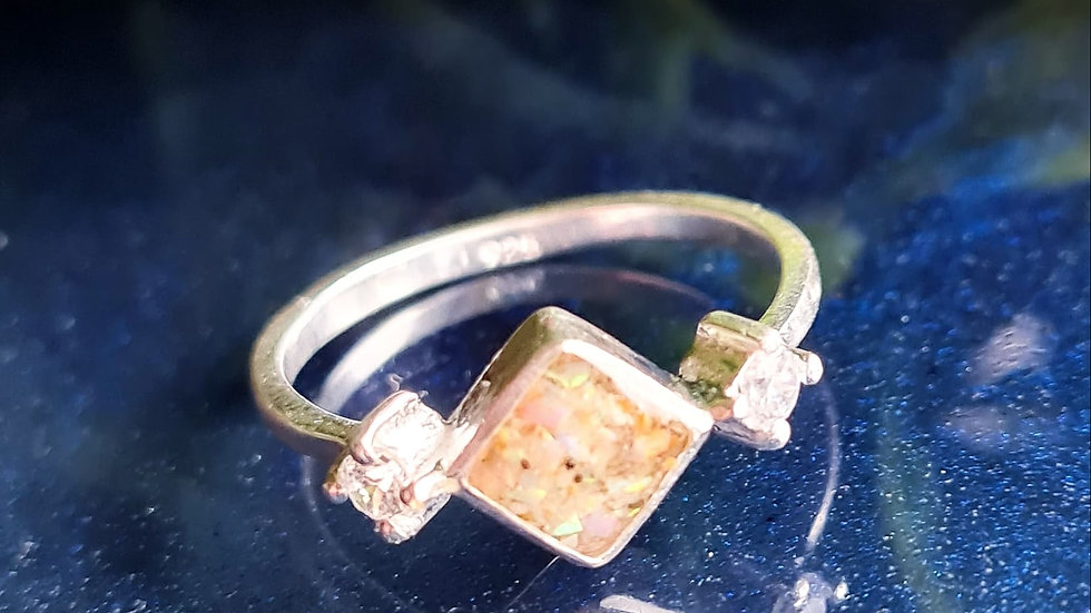 Square diamante breastmilk ring