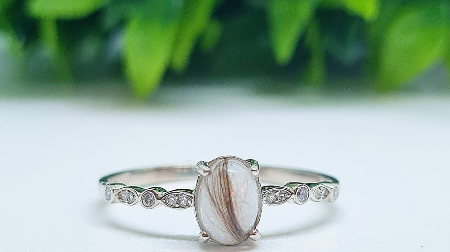 Marquise band oval breastmilk ring