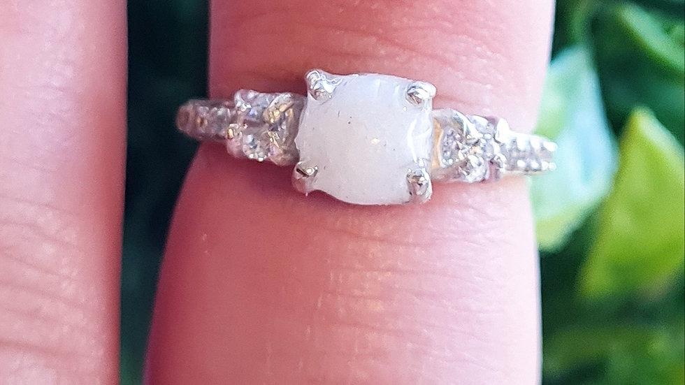 Birthstone diamante breastmilk ring