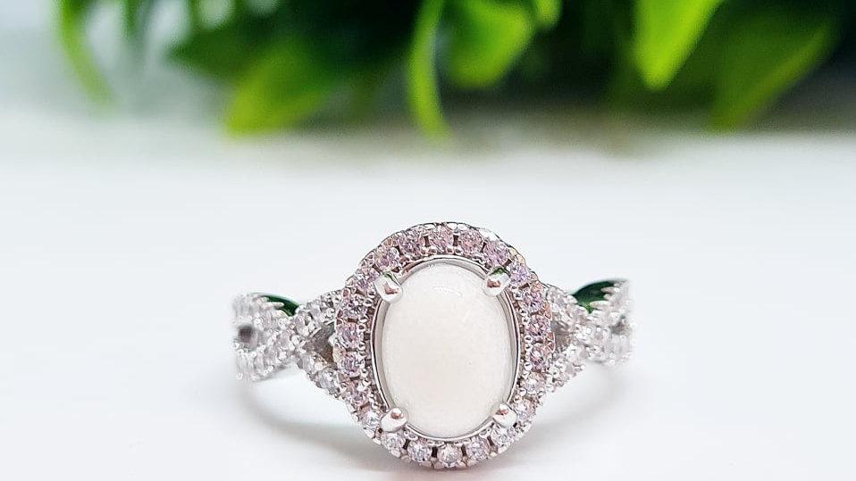 Oval cross diamante band breastmilk ring