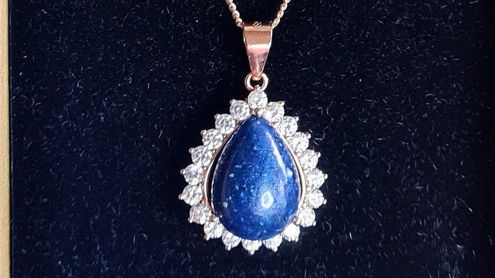 Diamante pear memorial necklace
