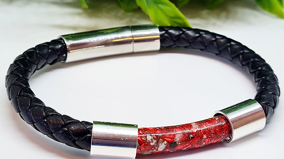Ashes leather tube bracelet
